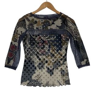 Anac by Kimi Stretch Floral Mesh Top S